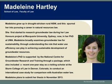 Madeleine Hartley - The UWA Institute of Agriculture - The University ...