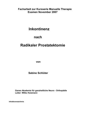 Inkontinenz Radikaler Prostatektomie - ganeo