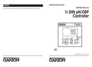 Oakton pH Testr 10, 20, 30, 10BNC and Spear Manual