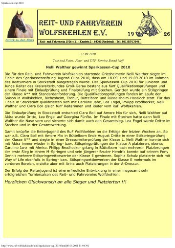 Sparkassen-Cup 2010 - Reit- und Fahrverein Wolfskehlen