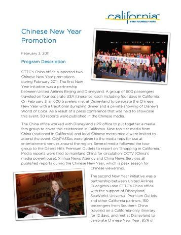 Chinese New Year Promotion - California Tourism