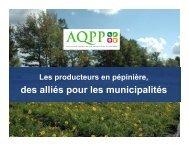 Les producteurs en pépinière, des alliés pour les municipalités