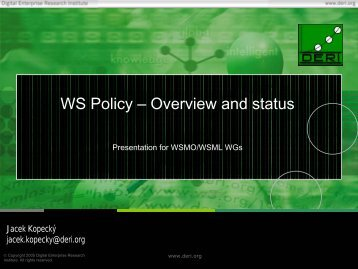 WS Policy – Overview and status - WSMO