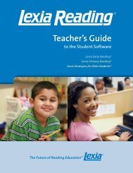 Teacher's Guide to the Student Software - Lexia Learning