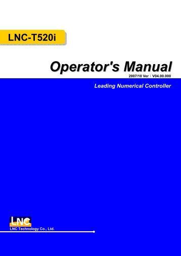 Leading Numerical Controller LNC-T520i Operator's Manual