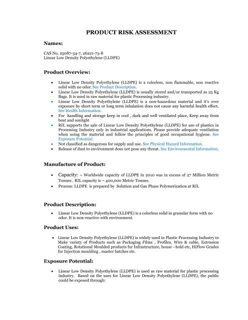 Linear Low Density Polyethylene - Reliance Industries Ltd