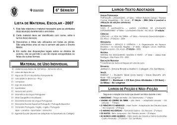 lista de material escolar - 2007 material de uso individual 6ª série/ef ...