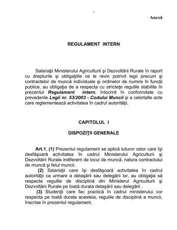 Anexă REGULAMENT INTERN Salariaţii Ministerului ... - MADR