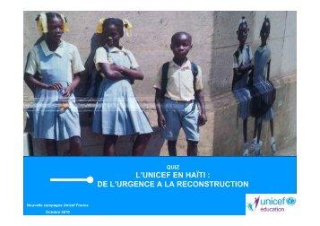L'UNICEF EN HAÏTI : DE L'URGENCE A LA RECONSTRUCTION