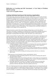 Reflections on Learning and Self Assessment: A Case Study of ...
