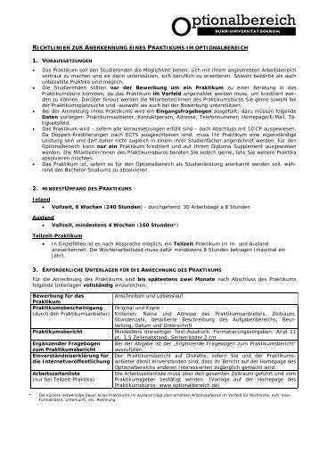 Richtlinien zur Anerkennung eines Praktikums im Optionalbereich