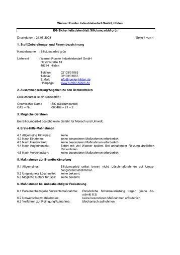 """Sicherheitsdatenblatt """"Siliziumkarbid grün"""" als PDF"""
