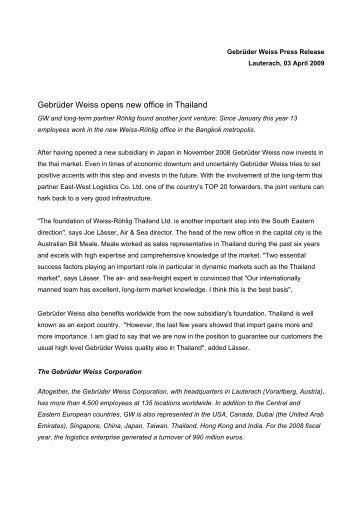Gebrüder Weiss opens new office in Thailand