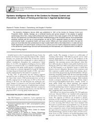 Epidemic Intelligence Service of the Centers for Disease ... - Library