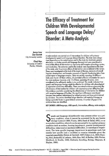 The Efficacy of Treatment for Children With ... - ResearchGate