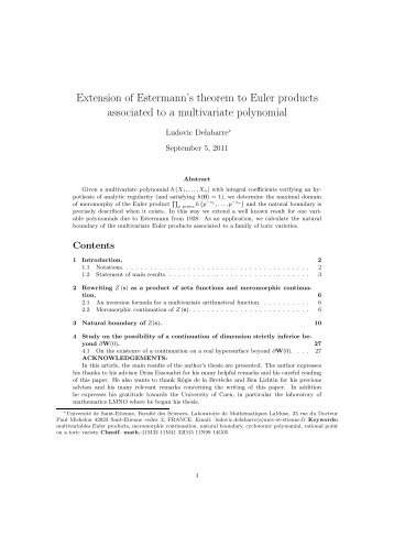 Extension of Estermann's theorem to Euler products associated to a ...