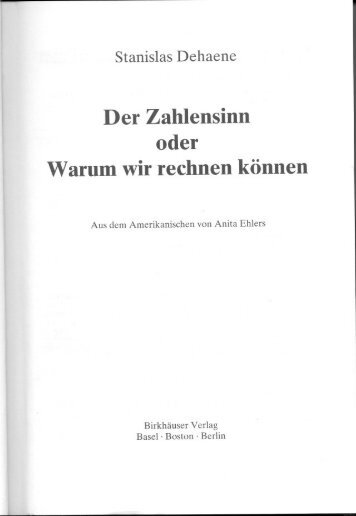 Stanislas Dehaene: Der Zahlensinn oder Warum wir rechnen