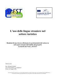 L'uso delle lingue straniere nel settore turistico - SLEST Standard ...