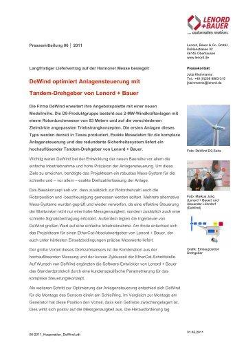 Infos zum Tandem-Drehgeber von Lenord + ... - Windkraft-Journal