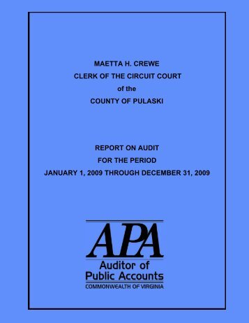 Clerk of the Circuit Court of the County of Pulaski for the period ...