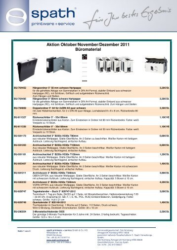 Aktion Oktober/November/Dezember 2011 Büromaterial - Spath ...