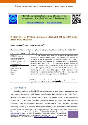 A Study of Hole Drilling on Stainless Steel AISI 431 by EDM Using ...