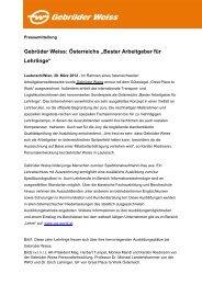 """Gebrüder Weiss: Österreichs """"Bester Arbeitgeber für Lehrlinge"""""""