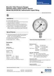 Bourdon Tube Pressure Gauges Stainless Steel, Safety Pattern ...