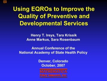 Using EQROs to Improve the Quality of Preventive and ...