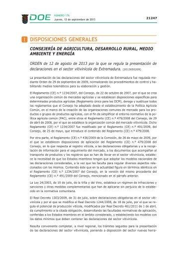 DISPOSICIONES GENERALES - Diario Oficial de Extremadura