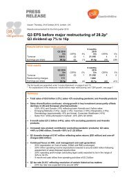 Q3 EPS before major restructuring of 28.2p*