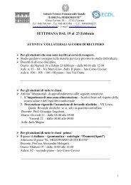 ATTIVITA' COLLATERALI AI CORSI DI RECUPERO - Sogisnc.it