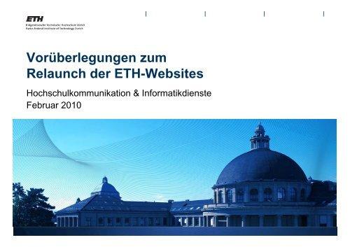 Vorüberlegungen zum Relaunch der ETH-Websites - ITEK