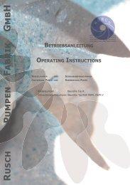 operating instructions - Rusch-Pumpen Fabrik GmbH