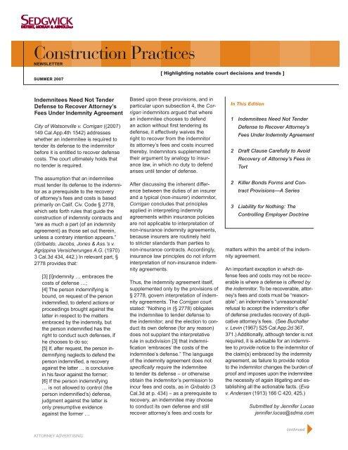 Download Full Newsletter in PDF Format - Sedgwick LLP