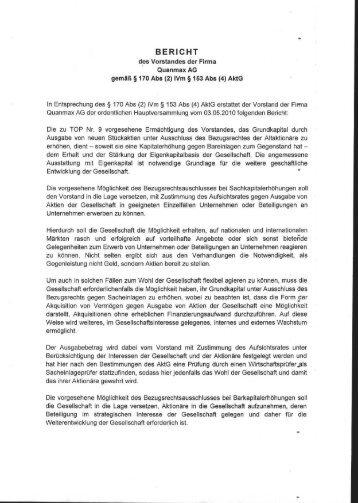 Bericht des Vorstandes zu TOP 9 - Quanmax AG