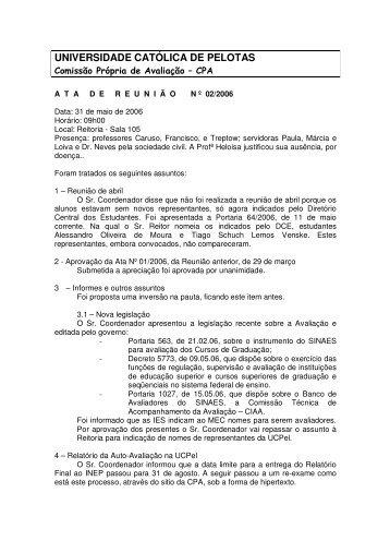 Ata de 31 de Maio - Universidade Católica de Pelotas