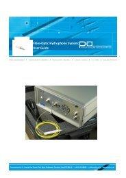 Fibre-optic Hydrophone System: User Guide - Precision Acoustics Ltd