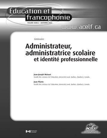 Liminaire », Éducation et francophonie, vol. XXXII, n o 2 ... - acelf