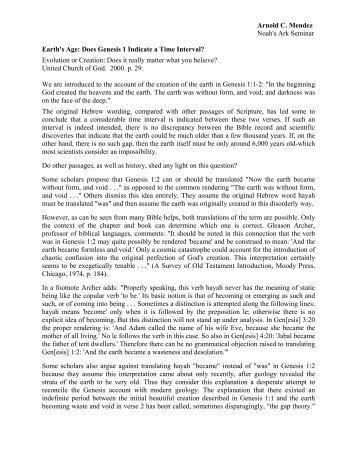 Earth's Age Genesis 1 - Noah's Ark & Early Man Seminars