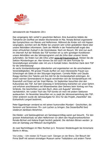 Jahresbericht der Präsidentin 2011 Das vergangene Jahr verlief in ...
