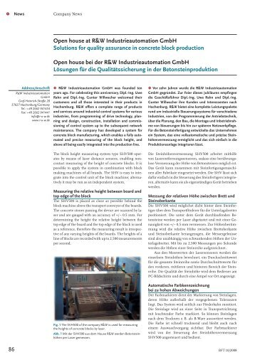 Solutions for quality assurance in concrete block production