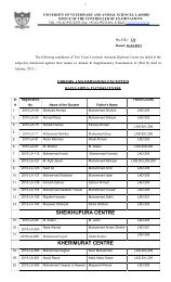 Result of Livestock Assistant Diploma Course and Poultry ... - UVAS