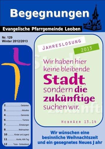 Ausgabe Winter 2012 - Evangelische Pfarrgemeinde Leoben