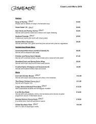Claremont Hotel Evening Buffet Menu - Sleepwell Hotels