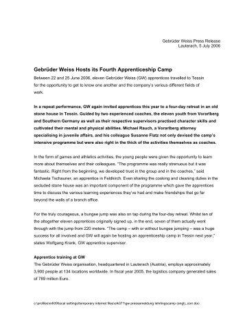 Gebrüder Weiss Hosts its Fourth Apprenticeship Camp