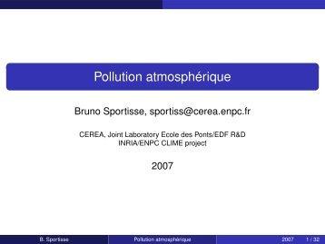 Pollution atmosphérique - Cerea - ENPC