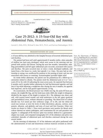 Case 25-2012: A 15-Year-Old Boy with Abdominal Pain ...