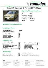 Einbauhilfe Elektrosatz für Peugeot 307 Fließheck