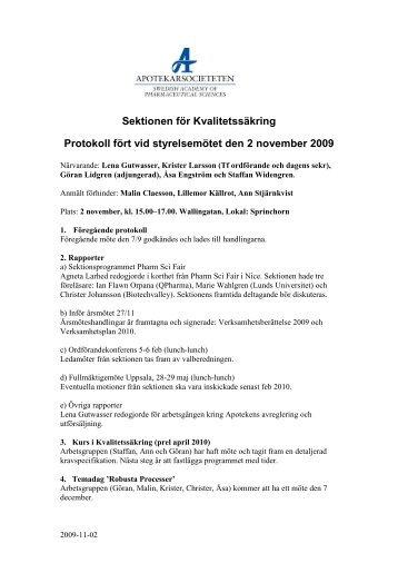 Sektionen för Kvalitetssäkring Protokoll fört vid styrelsemötet den 2 ...